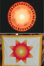 Sun-Star quilt compared to a NASA Drawing of the Sun's interior