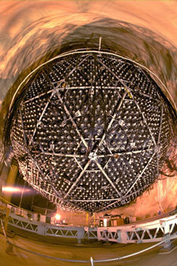 Figure 3 :  The Sudbury Neutrino telescope  in Canada. The 12-meter sphere contains  12,000 detectors that watch for the light from neutrinos that streak through the water filling the interior of the sphere. (Courtesy - Stanford Solar Center)