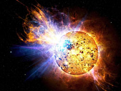 An artist's rendition of a huge flare on the young star EV Lacertae.