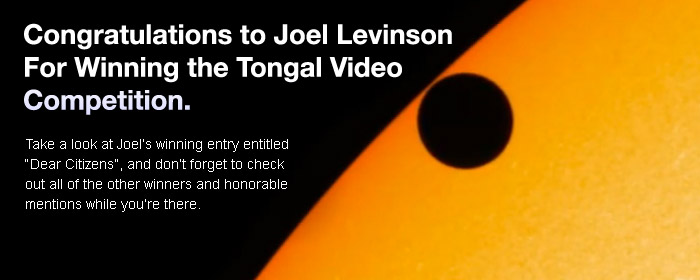Congratulations to Joel Levinson for winning first place in our Tongal Video Competition