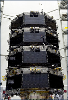 The four satellites of MMS stacked, being prepared for launch