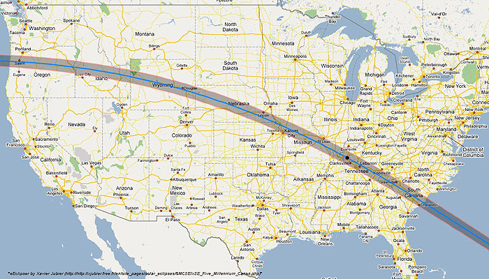 Map of the Eclipse Path of 2017