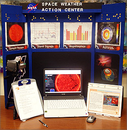 Space Weather Action Center, Monitor, backboard with display, and computer